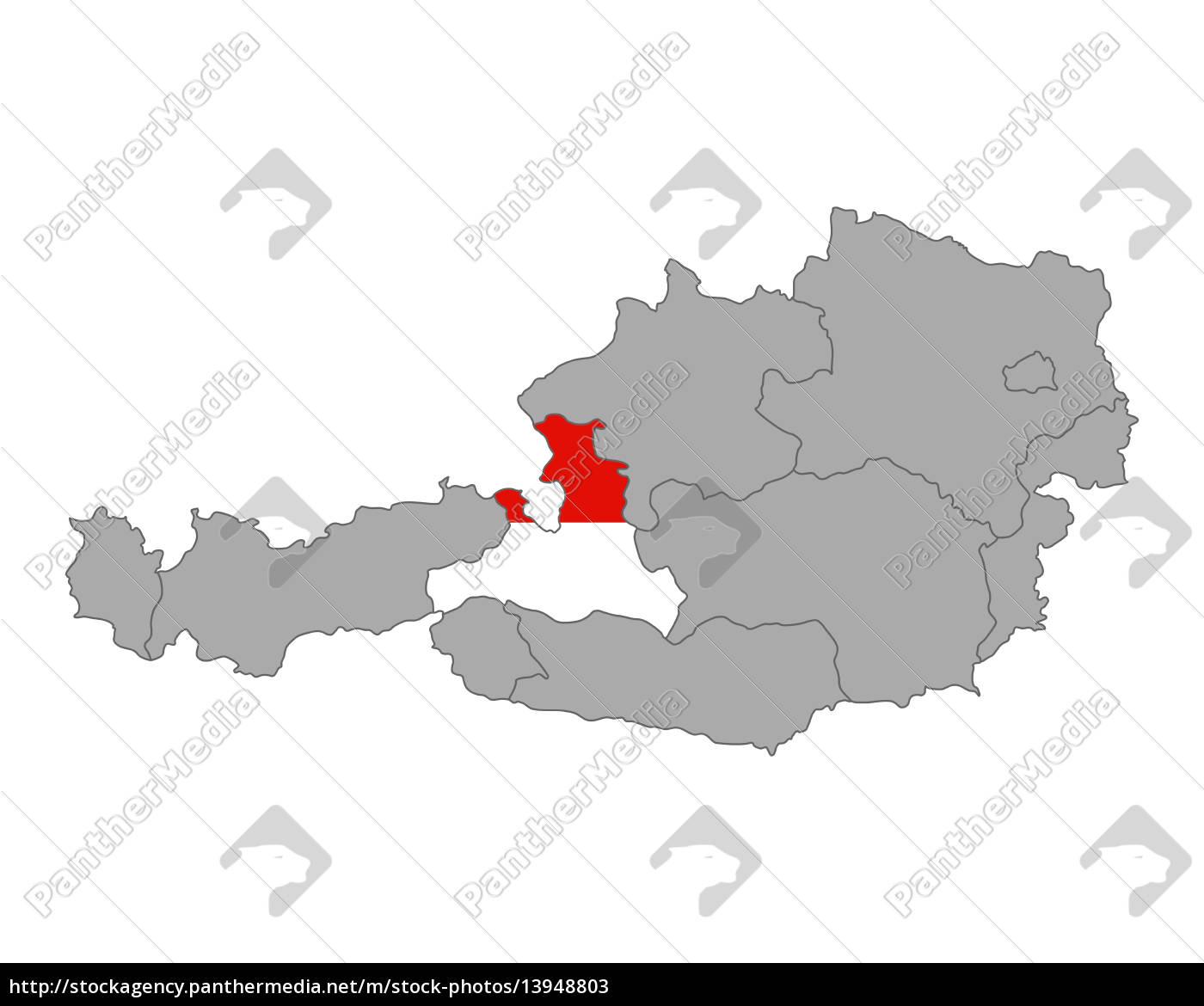 Kort Over Ostrig Med Flag Salzburg Stockphoto 13948803