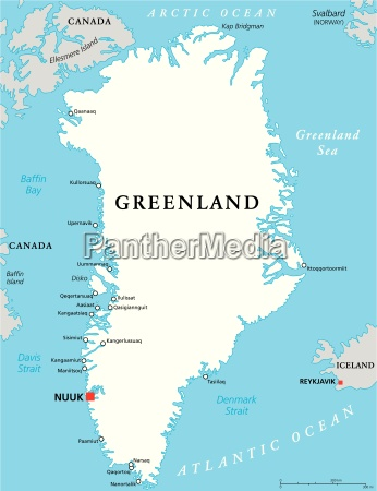 gronland politisk kort