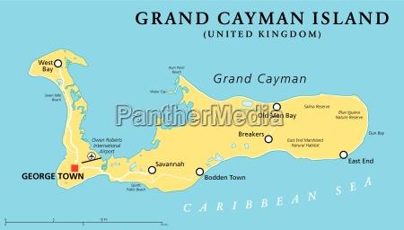 grand cayman island politisk kort
