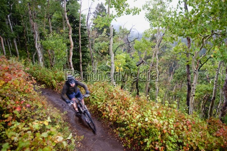 en mountainbiker rider forbi falder farver