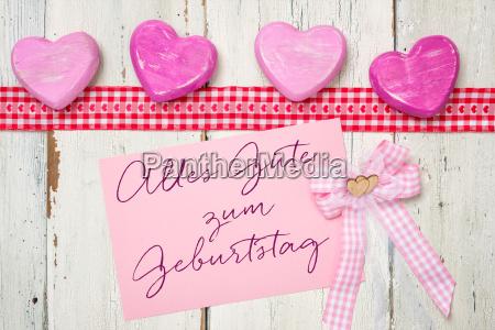 pink card med indskriften tillykke med