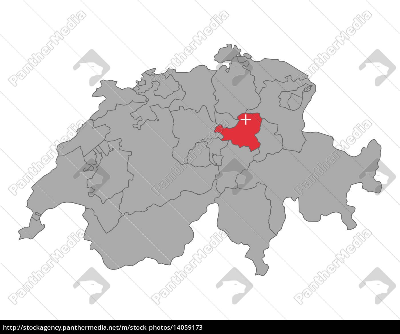 Kort Over Schweiz Med Flag Schwyz Stockphoto 14059173
