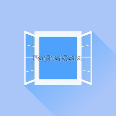 open white window isoleret pa bla
