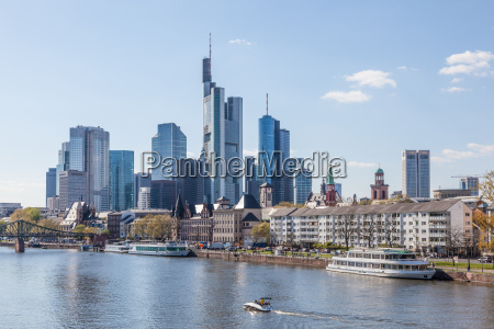 frankfurt downtown skyline and the river