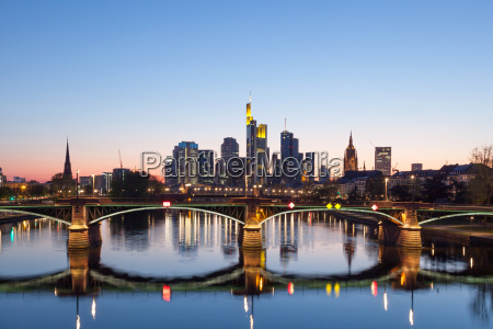 frankfurt main skyline at night germany