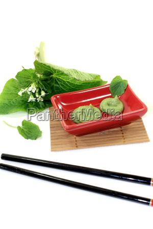 wasabi med blad og blomst