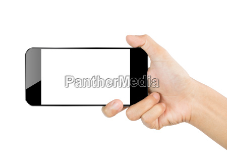 closeup hand hold smartphone mobil isoleret