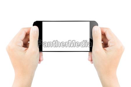 fuld skaerm hand hold smartphone show