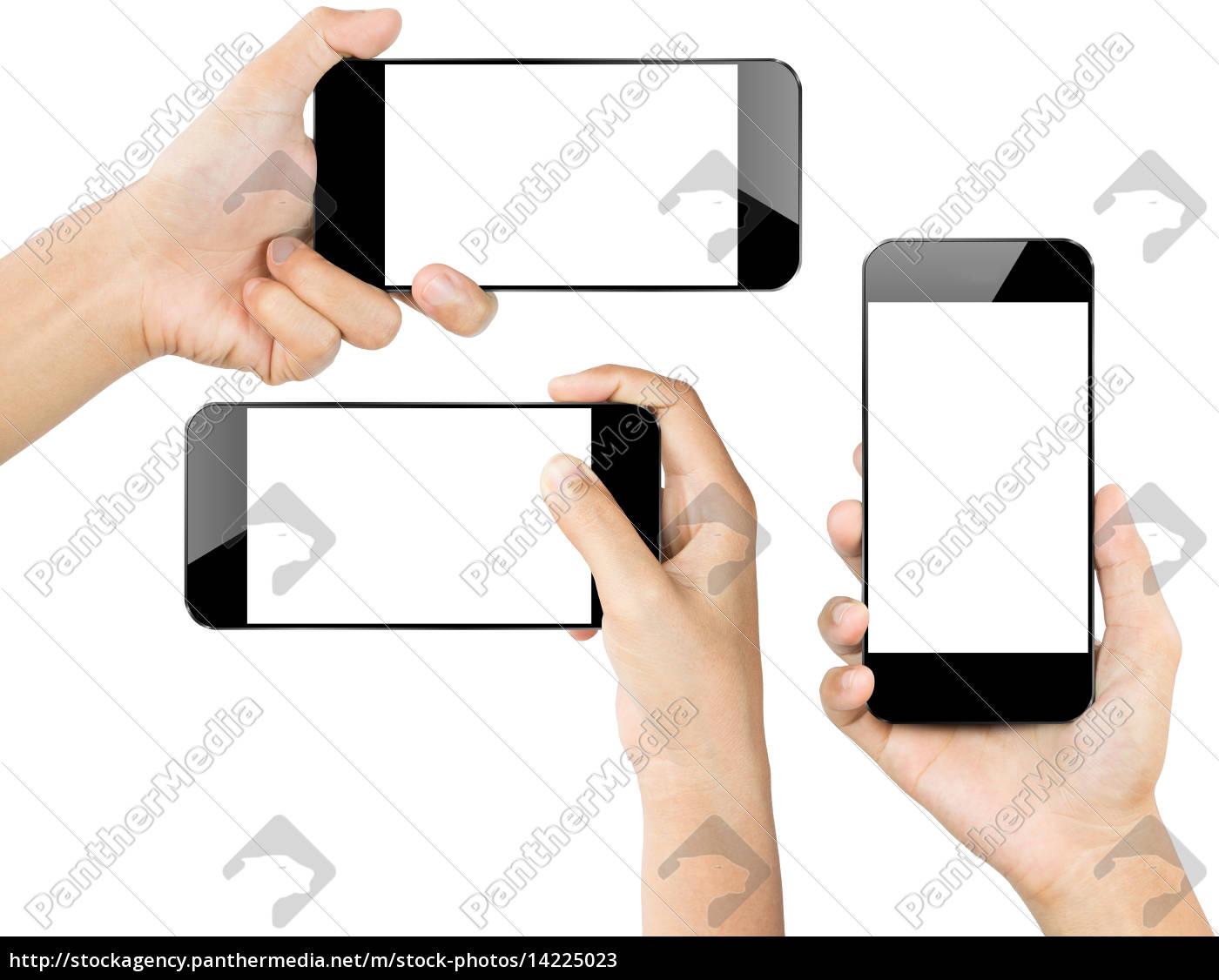 closeup, hånd, hold, smartphone, hvid, isoleret - 14225023