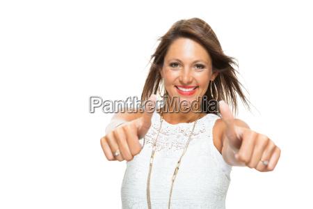 unge smukke brunette kvinde med haevet