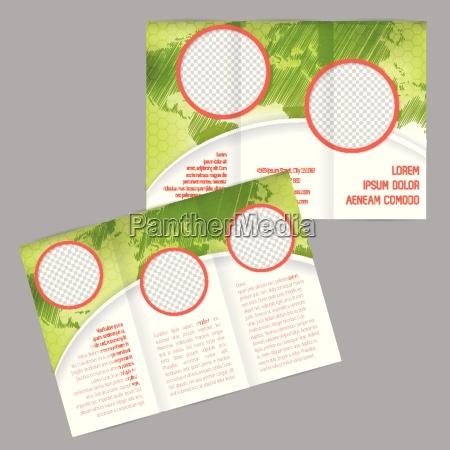 tri fold brochure design med verdenskort