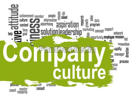 virksomhedskultur ord sky med gront banner