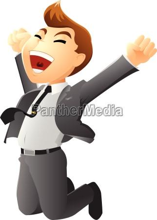 illustration af hoppe forretningsmand