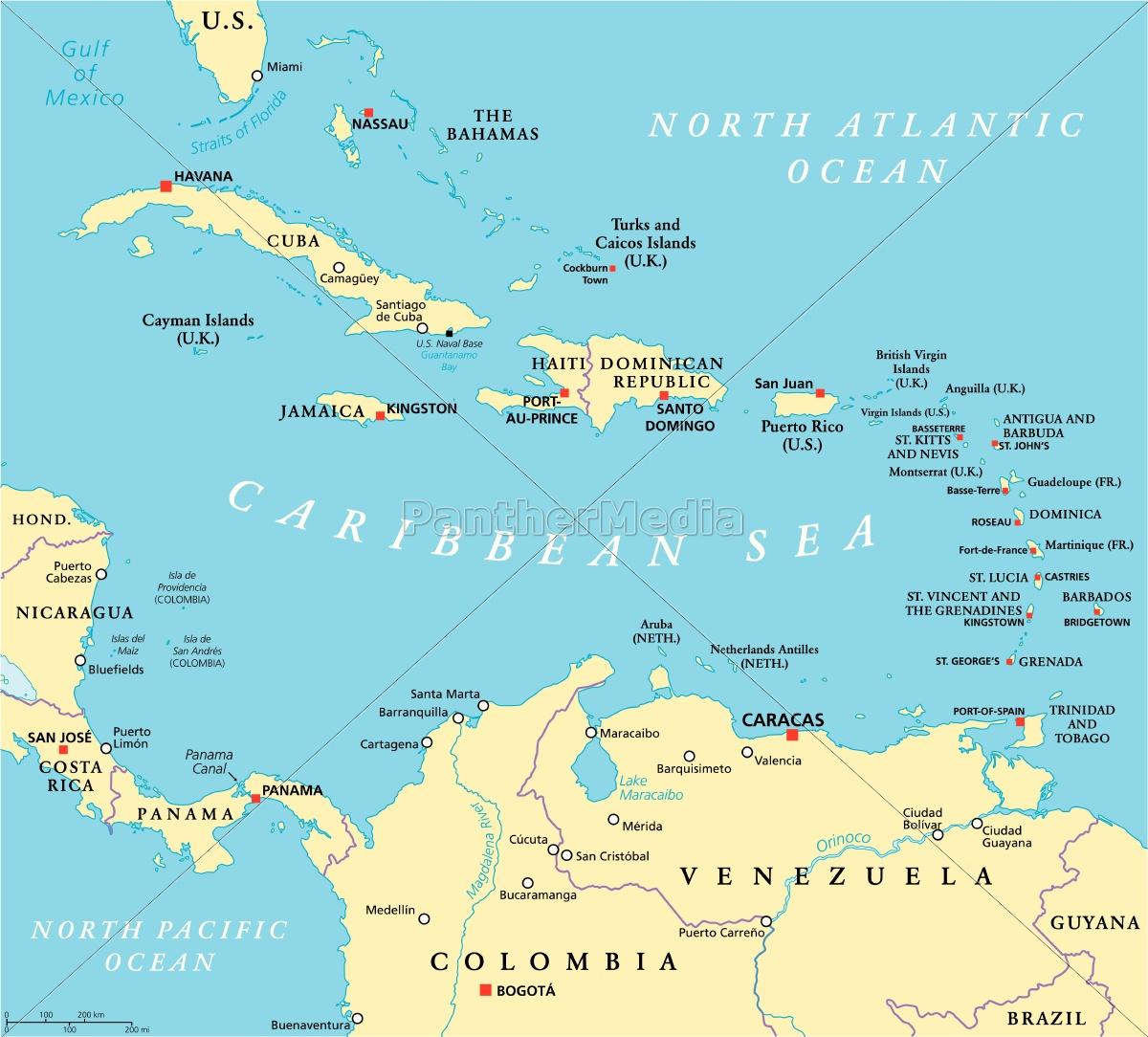 Caribbean Politisk Kort Stockphoto 14334939 Panthermedia