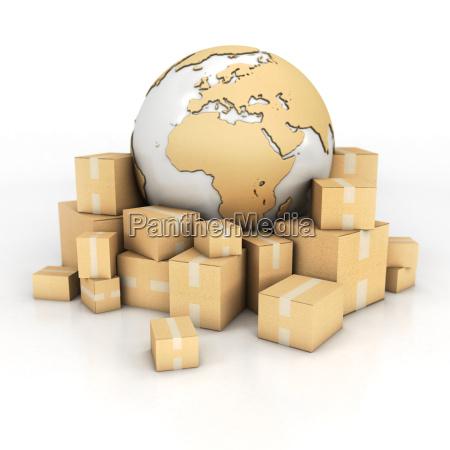 jord og kasser i pap tekstur