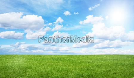gront felt og bla himmel