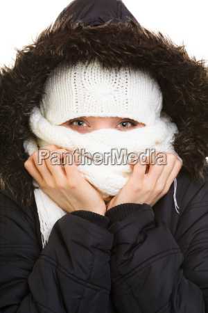 winter vacation girl covering face with