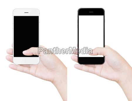 hånd, holder, telefonen, fritlægningskurve, isoleret, hvid - 14712921