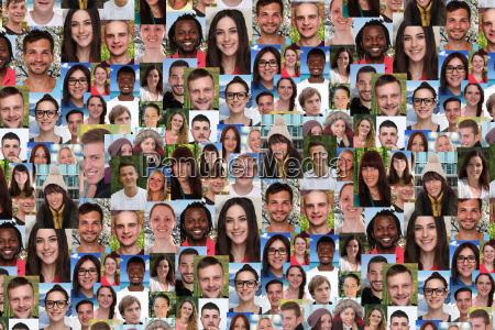 baggrund collage unge store gruppe mennesker