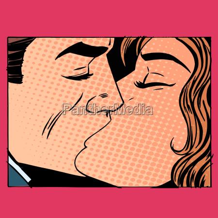 kuss mann und frau bei der