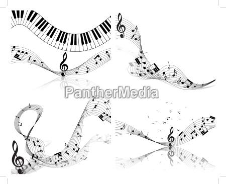 musical note staff set