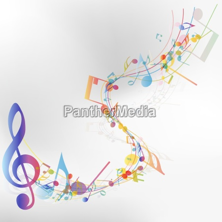 multicolor musical note staff
