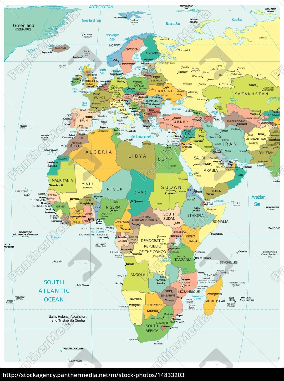 Afrika Og Europa Region Kort Stockphoto 14833203