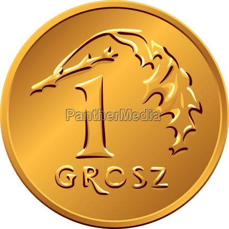reverse polish money one grosz copper
