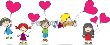 kinder mit herz luftballons vektor illustration