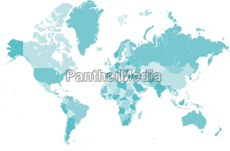 world map blue with borders vector