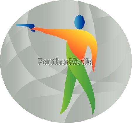 luft pistol skydning cirkel retro