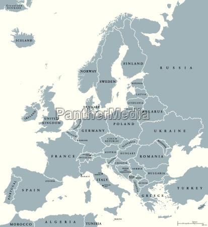 europa lande politisk kort