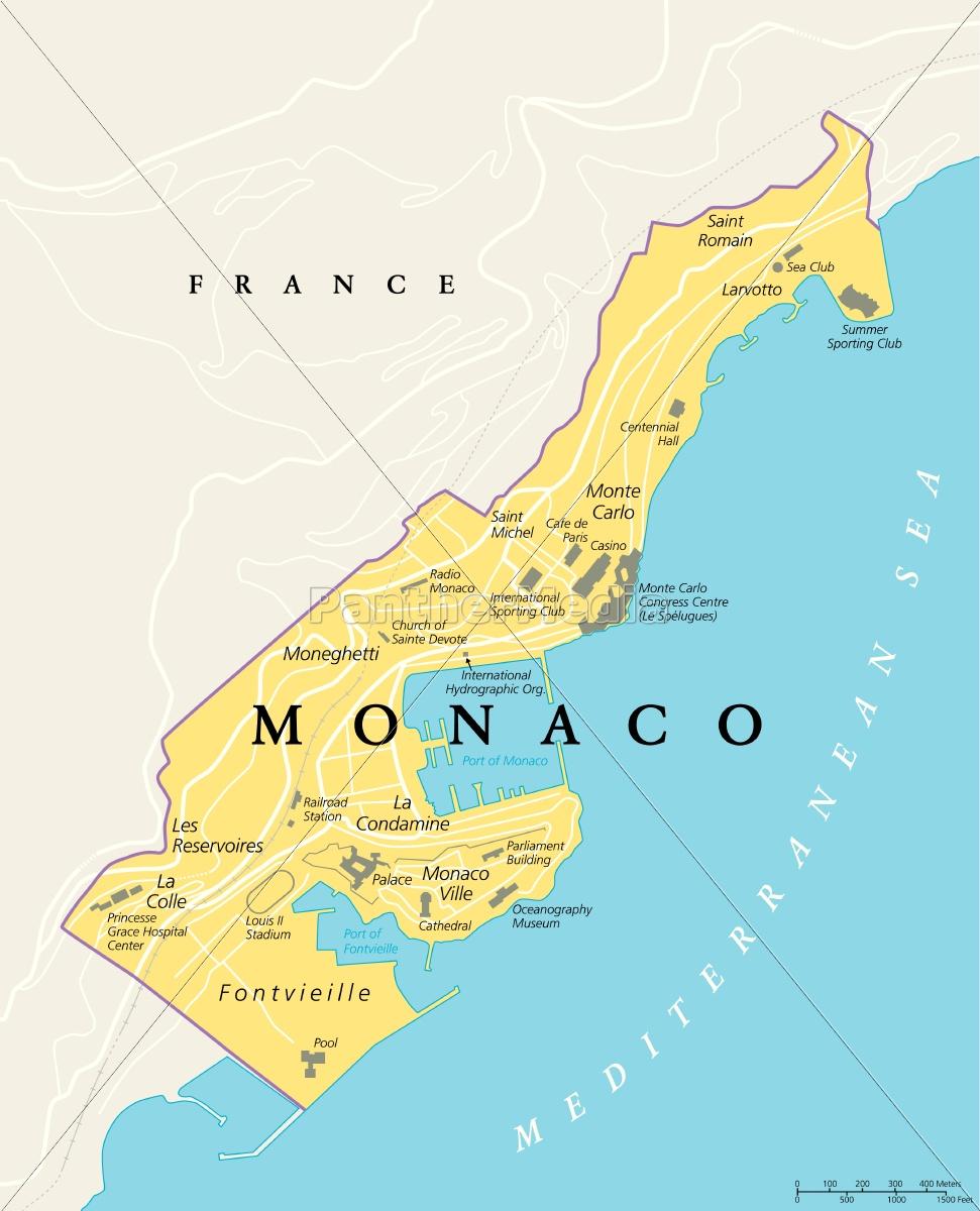 Monaco Politisk Kort Royalty Free Image 15134267