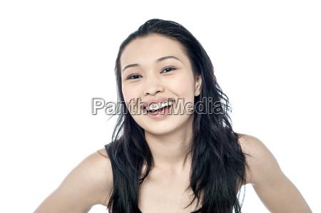 smiling pretty woman joyful moment