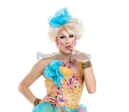 drag queen i gul bla kjole