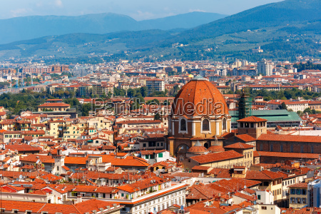 city rooftops and medici chapel in
