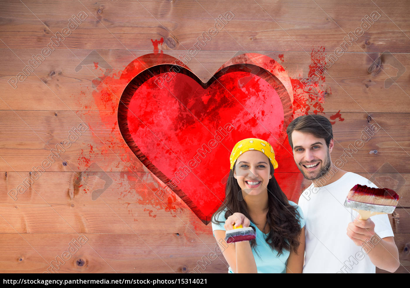 sammensat, billede, af, glade, unge, par - 15314021