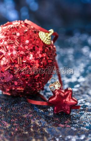 christmas decoration on blue