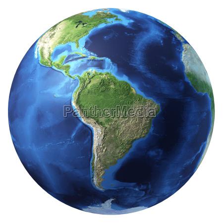jord kloden realistisk 3d rendering sydamerika