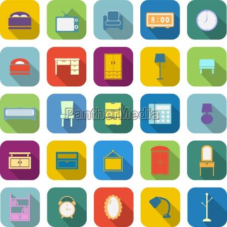 sovevaerelse farve ikoner med lang skygge