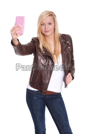 young blond girl making a selfie