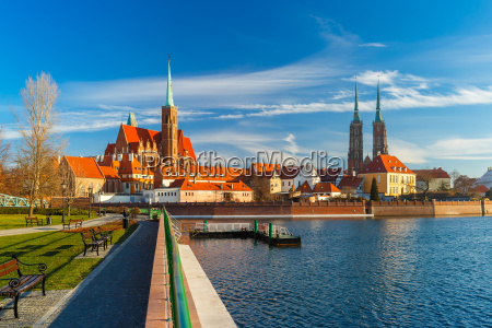 katedraløen, om, morgenen, wroclaw, polen - 15785670
