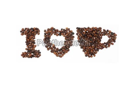 ristede kaffebonner i form af alfabeter