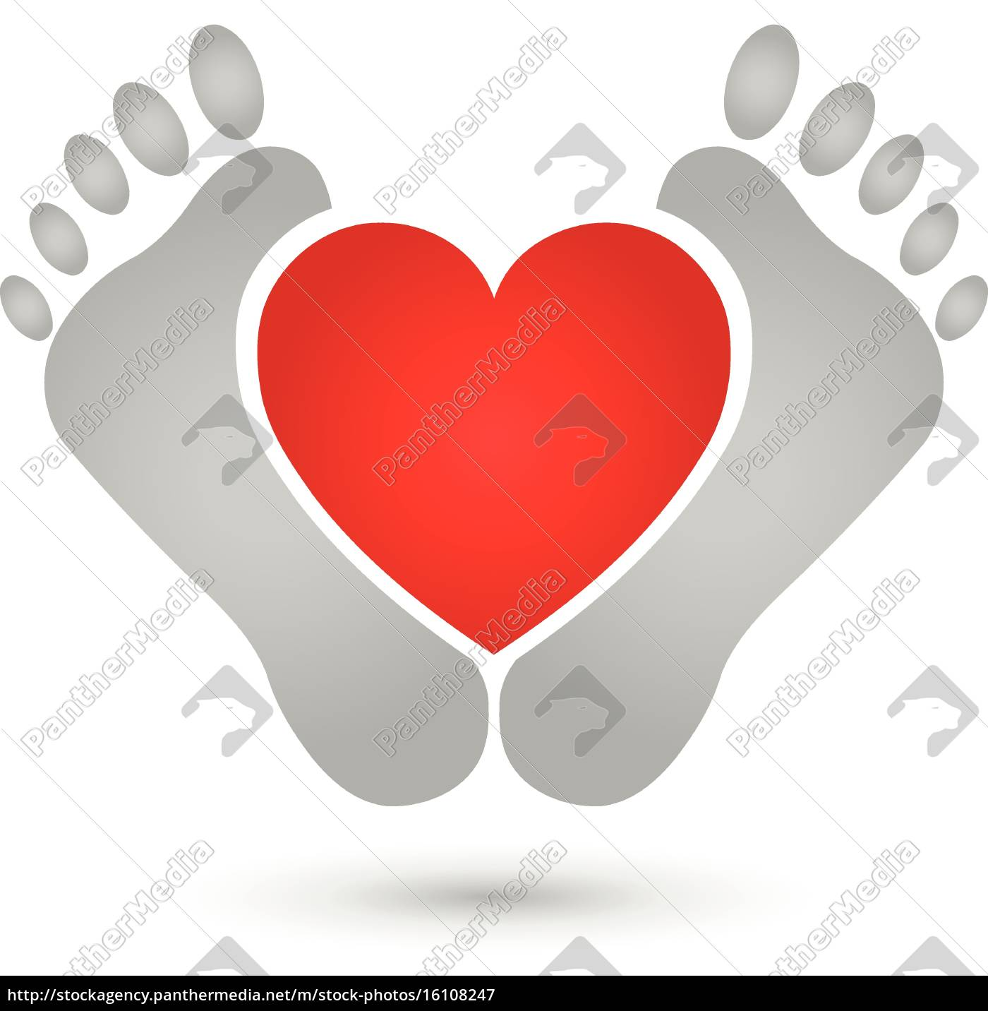 to, fødder, og, hjerte, logo, fødder - 16108247