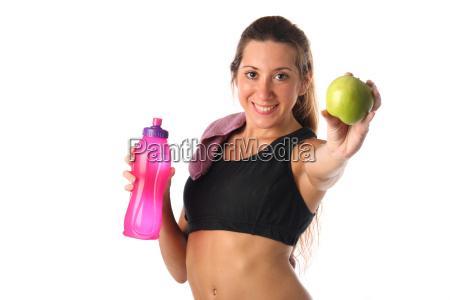 sund, livsstil., fitness, kvinde, drikkevand - 16204533