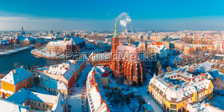 aerial panorama of wroclaw in the
