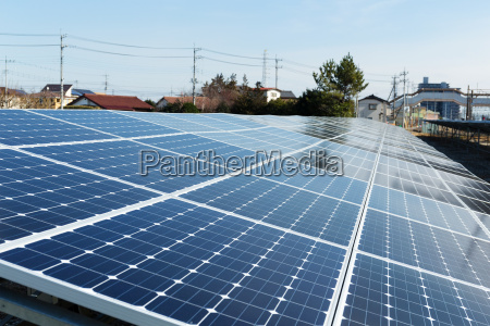 solar panel and power line
