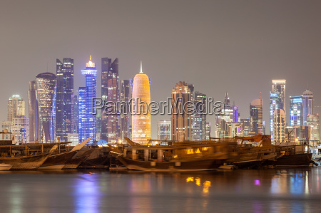 doha city skyline at night qatar
