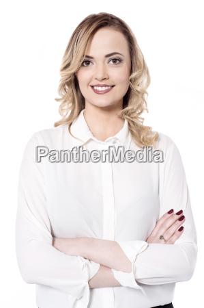 smilende, kvinde, isoleret, på, hvid - 16330085