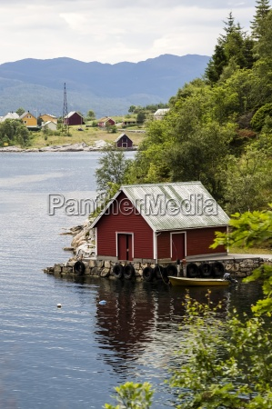 norway bergen red house by the